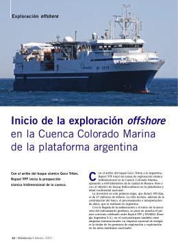 Inicio de la exploración offshore en la Cuenca Colorado Marina de