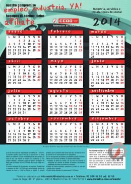 Calendario laboral 2014. Convenio Industria, servicios e