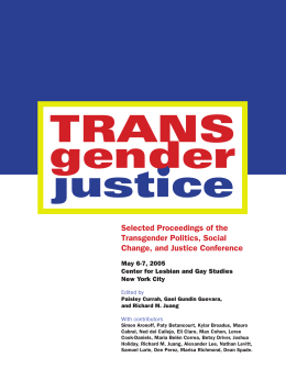 Selected Proceedings of the Transgender Politics, Social