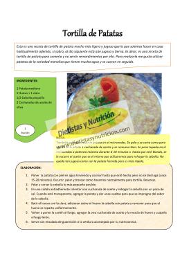 Tortilla de Patatas - Dietistas y Nutricion