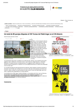 Un total de 80 parejas disputan el VIII Torneo de Pádel Argar en el