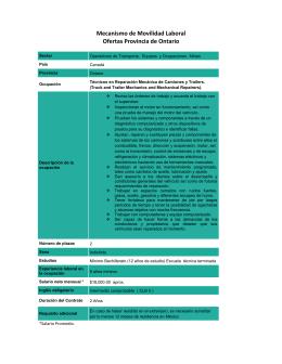 Mecanismo de Movilidad Laboral Ofertas Provincia de Ontario