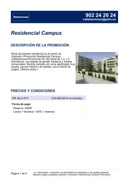 Residencial Campus DESCRIPCIÓN DE LA PROMOCIÓN