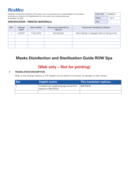 Masks Disinfection and Sterilisation Guide ROW Spa (Web only