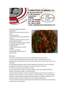 CALLOS DE CERDO ESTILO ANISIA Ingredientes: 1