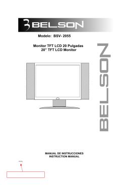"Modelo: BSV- 2055 Monitor TFT LCD 20 Pulgadas 20"" TFT LCD"