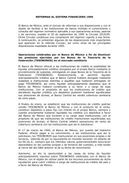 REFORMAS AL SISTEMA FINANCIERO 1995 El Banco de México