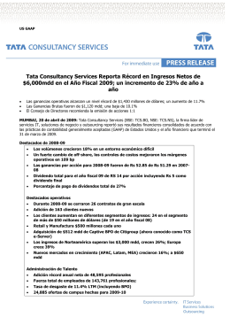Tata Consultancy Services Reporta Récord en Ingresos Netos