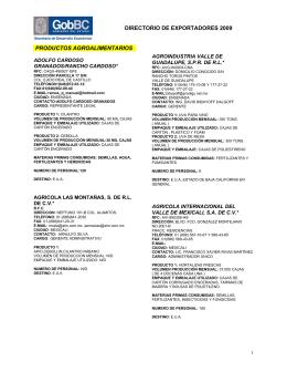 directorio de exportadores 2009 productos agroalimentarios