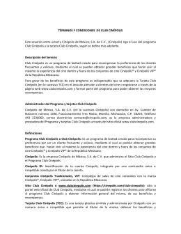 TÉRMINOS Y CONDICIONES DE CLUB CINÉPOLIS Este acuerdo