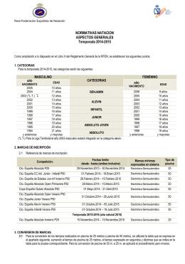 normativa de natación aspectos generales 2014-2015