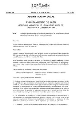 Ordenanza Reguladora de la Inspección Técnica de Edificaciones