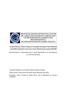 pronóstico de pacientes con cáncer de cabeza de páncreas y