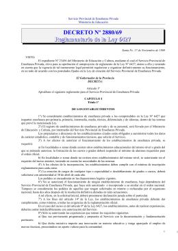 Decreto Reglamentario Nº 2880/69