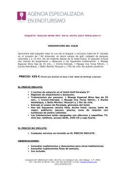 """""""BACCUS WINE SPA"""" EN EL HOTEL GOLF PERALADA 5"""