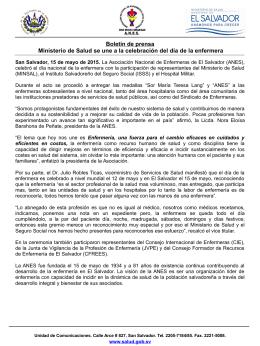Boletín de prensa Ministerio de Salud se une a la celebración del