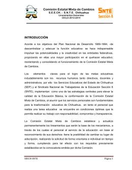 Comisión Estatal Mixta de Cambios INTRODUCCIÓN