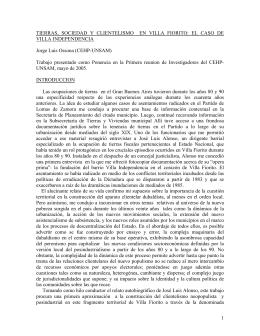 Tierras, sociedad y clientelismo en Villa Fiorito