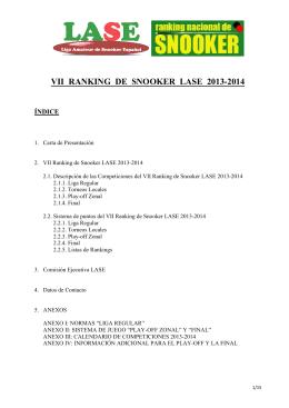 VII RANKING DE SNOOKER LASE 2013-2014 - LASE