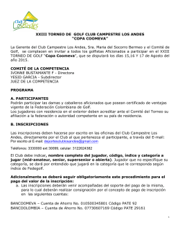 "XXIII TORNEO DE GOLF CLUB CAMPESTRE LOS ANDES ""COPA"