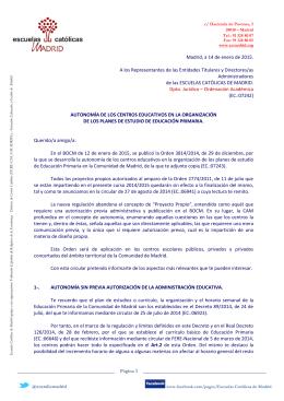 14-01-2015 Autonomía de los centros educativos en la organización