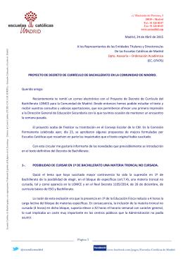 24-04-2015 Proyecto de decreto de currículo de Bachillerato de la CM