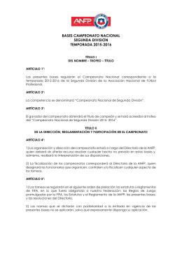 Bases Campeonato Nacional de Segunda División
