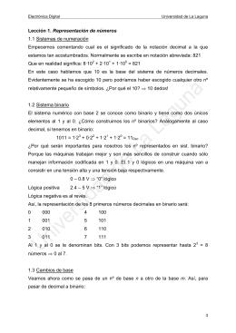 Representación de números - Universidad de La Laguna