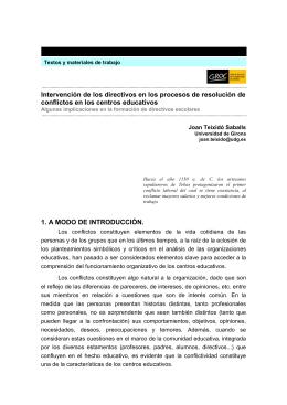 Intervención de los directivos en la resolución de conflictos