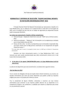 """normativa y criterios de selección: """"equipo nacional infantil de"""