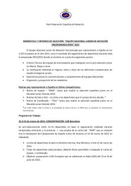 """normativa y criterios de selección: """"equipo nacional junior de"""