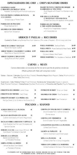 CARNES :: MEATS PESCADOs :: SEAFOOD ARROCES Y paellas