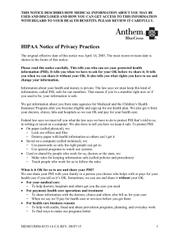 Anthem Blue Cross—HIPAA Notice of Privacy Practices