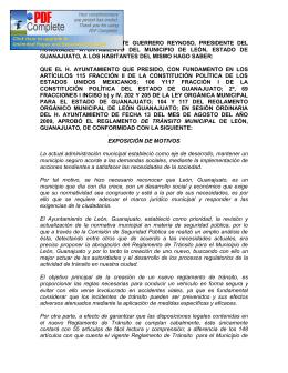 reglamento de tránsito municipal de león, guanajuato
