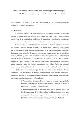 Tema 4.- Movimientos renovadores en la poesía de principios del