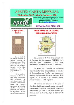 APETEX CARTA MENSUAL - Asociación Española de