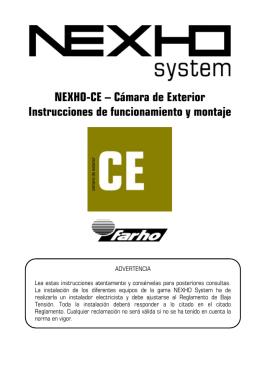 NEXHO-CE – Cámara de Exterior Instrucciones de funcionamiento y