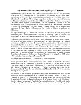Dr. José Ángel Raynal Villaseñor Semblanza Curricular y Plan de