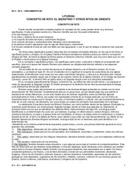 LITURGIA CONCEPTO DE RITO: EL BIZANTINO Y OTROS
