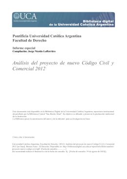 Análisis del proyecto de nuevo Código Civil y Comercial 2012