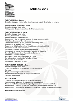 TARIFAS 2015 - Museu del Ferrocarril de Catalunya