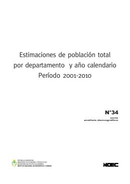 Estimaciones de población total por departamento y año