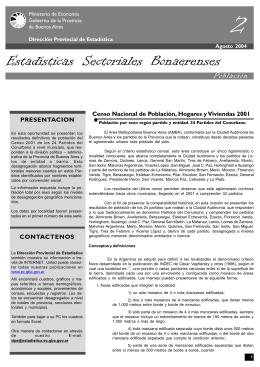 Estadísticas Sectoriales Bonaerenses. Población por entidad