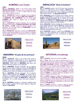 """ALMERIA y sus Costas ANDORRA """"El país de los pirineos"""