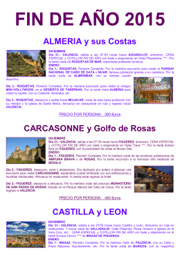 FIN DE AÑO 2015 ALMERIA y sus Costas
