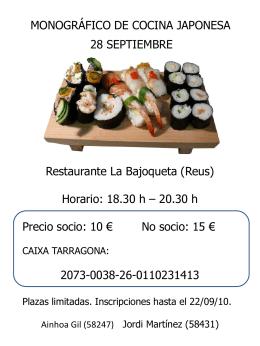 MONOGRÁFICO DE COCINA JAPONESA 28 SEPTIEMBRE