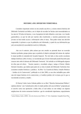 HISTORICA DEL DIFERENDO TERRITORIAL Considero importante