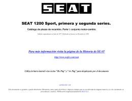 SEAT 1200 Sport. Catálogo de Piezas de Recambio. Junio 1977