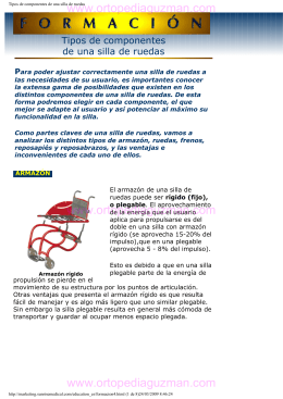 Tipos de componentes de una silla de ruedas