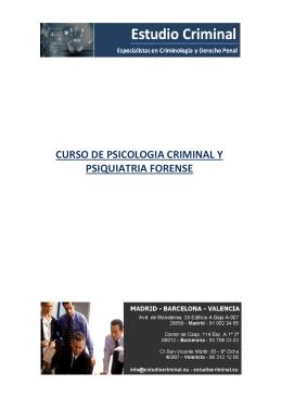 curso de psicologia criminal y psiquiatria forense